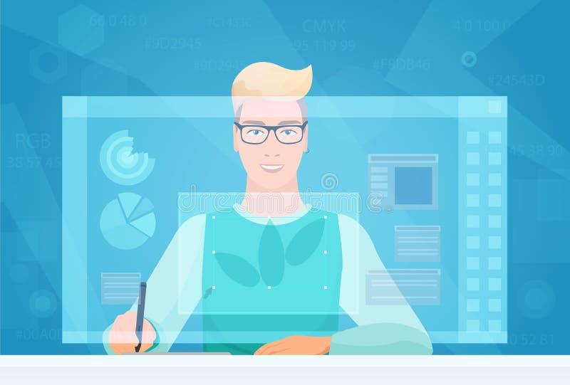 Designer man working using virtual media interface workspace. Designer Artist working with graphic program virtual vector illustration