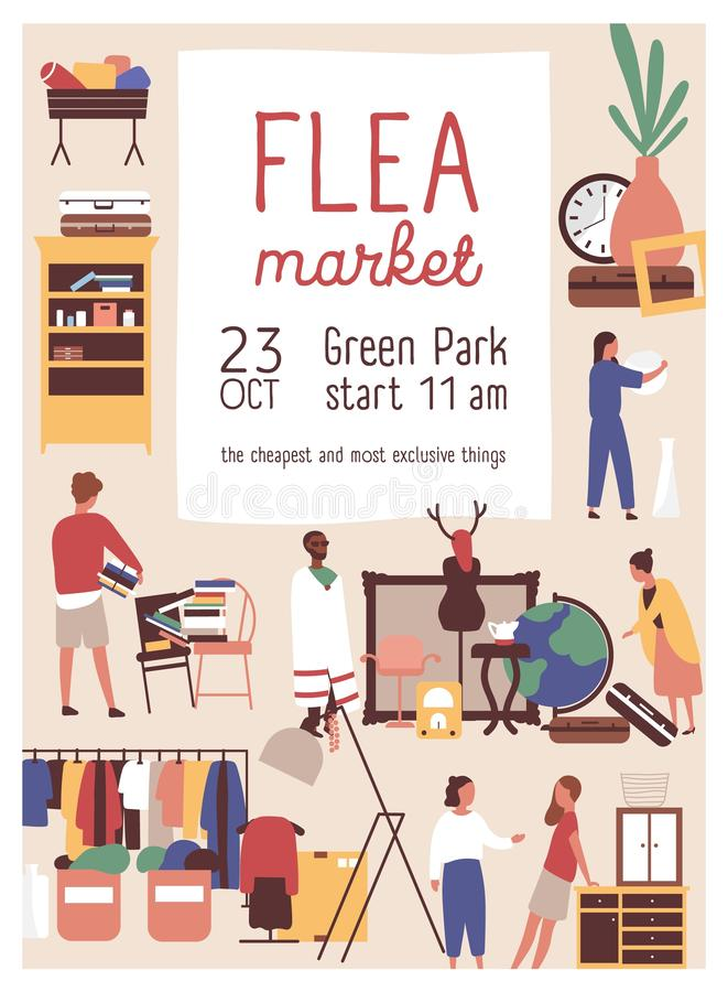 Designer market flat poster vector template. Retail store sale invitation. Rag fair, flea market advertising brochure. Banner layout. Customers buying stock illustration