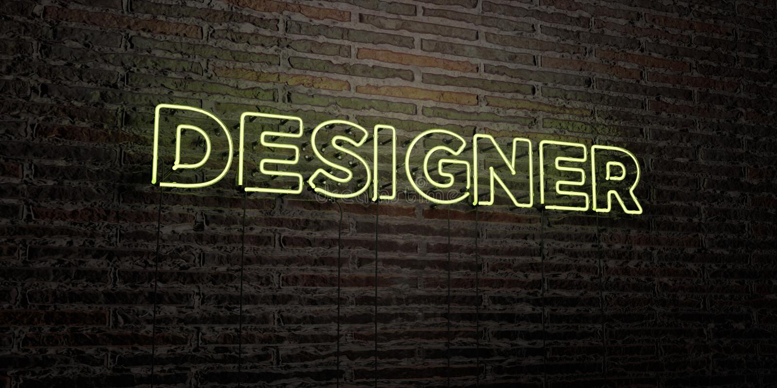 DESIGNER -Realistic Neon Sign on Brick Wall background - 3D rendered royalty free stock image vector illustration