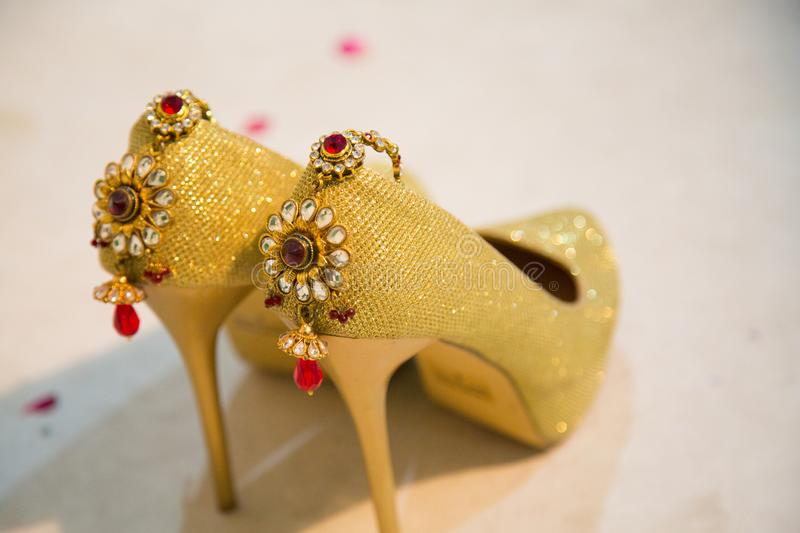 Designer Sandals Decorated with ornaments stock photo