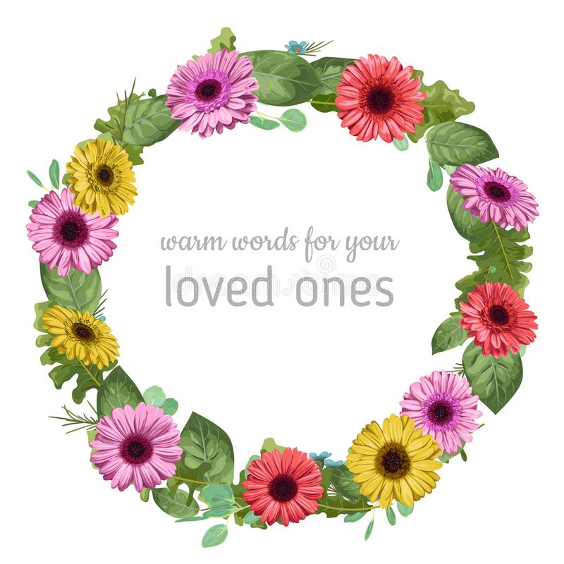 Designer vector watercolor floral frame wreath. Colored gerbera, eucalyptus and rose leaves, waxy flowers isolated on white vector illustration