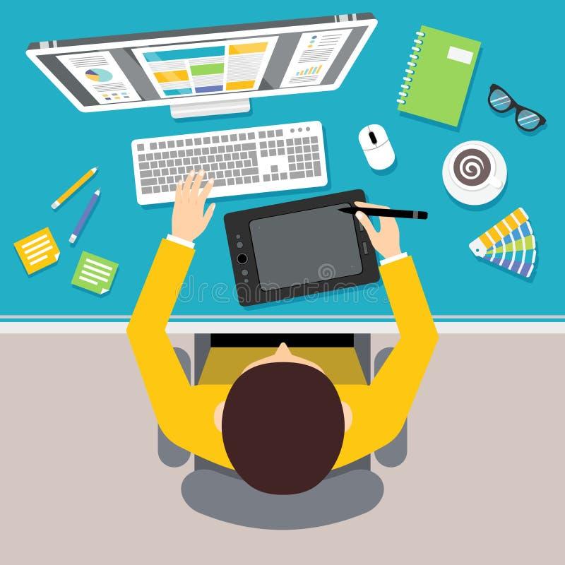 Designer work place vector illustration