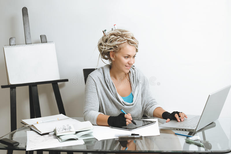 Designer working on graphics tablet stock photo