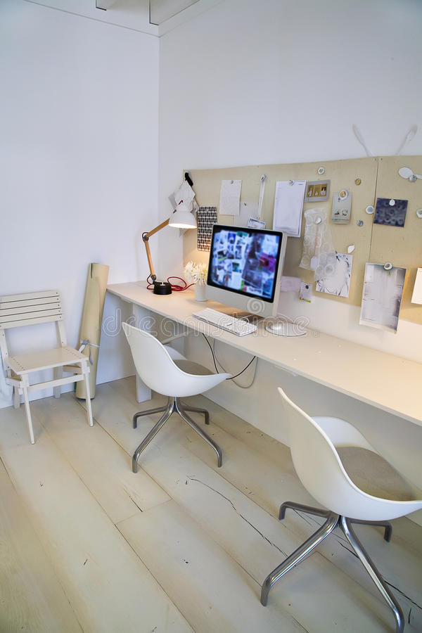 Designer working place. At home with computer stock photography