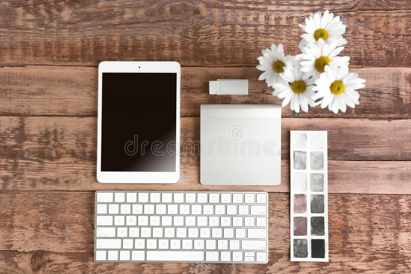 Designer workplace, top view. Designer workplace, a top view stock image