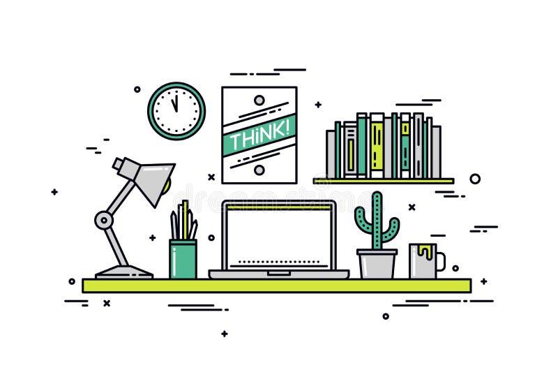 Designer workspace line style illustration royalty free illustration