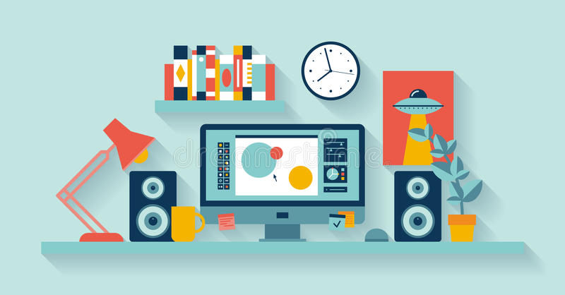 Designer workspace in the office stock illustration