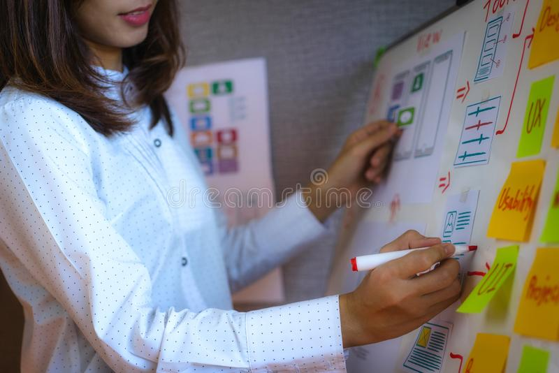 Designerfrauen des Planungswebsite- und Skizzenzeichnungsschablonenplans für die Anwendung, die im Büro sich entwickelt Benutzere lizenzfreie stockfotos