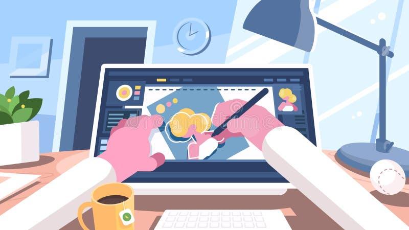 Designerillustrator zeichnet auf Computer lizenzfreie abbildung