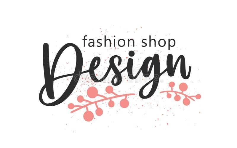 Designermode handgeschriebene Farbschrift Brushstroke-Boutique-Bezeichnung kurvig mit Blumenelementen lizenzfreie abbildung