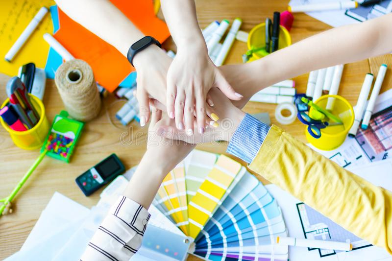 Designers and architects working at office royalty free stock photos