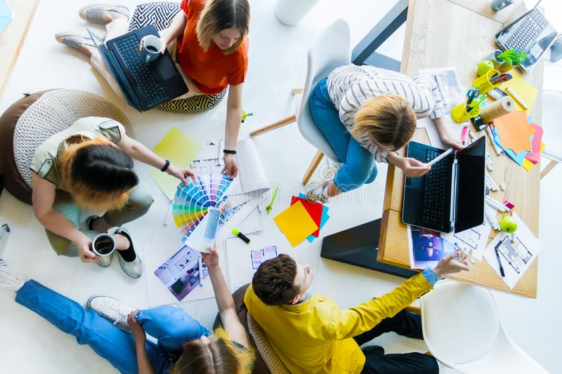 Designers and architects working at office stock photos