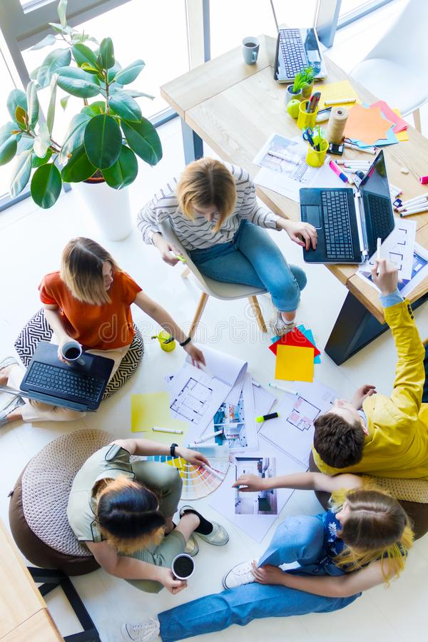 Designers and architects working at office stock photography