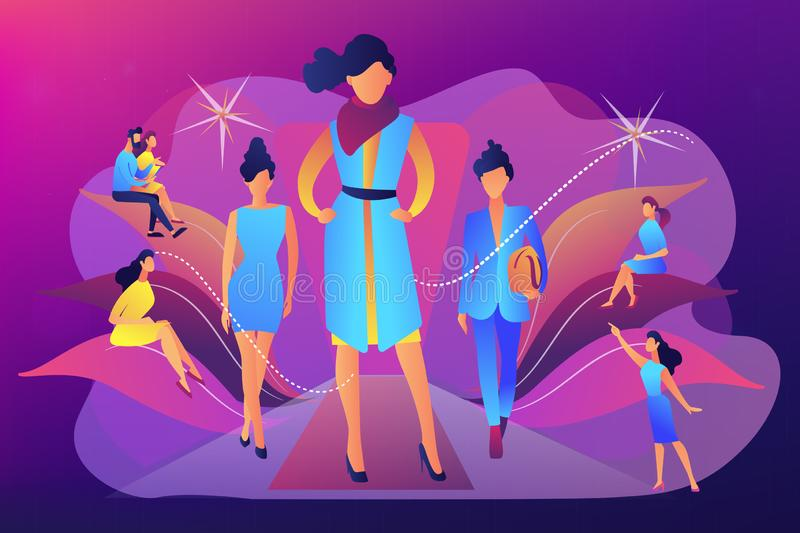 Fashion week concept vector illustration. Designers display latest collection in runway fashion show to buyers and media. Fashion week, fashion industry event vector illustration