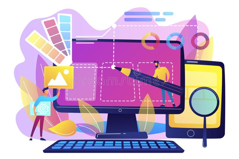 Web design development concept vector illustration royalty free illustration