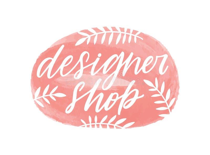 Designershop handgeschriebene Farbschrift Kurze Aufschrift des Brushstroke Stores mit isolierten botanischen Elementen lizenzfreie abbildung
