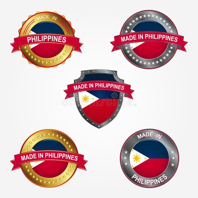 Designetikett av gjort i Filippinerna också vektor för coreldrawillustration stock illustrationer