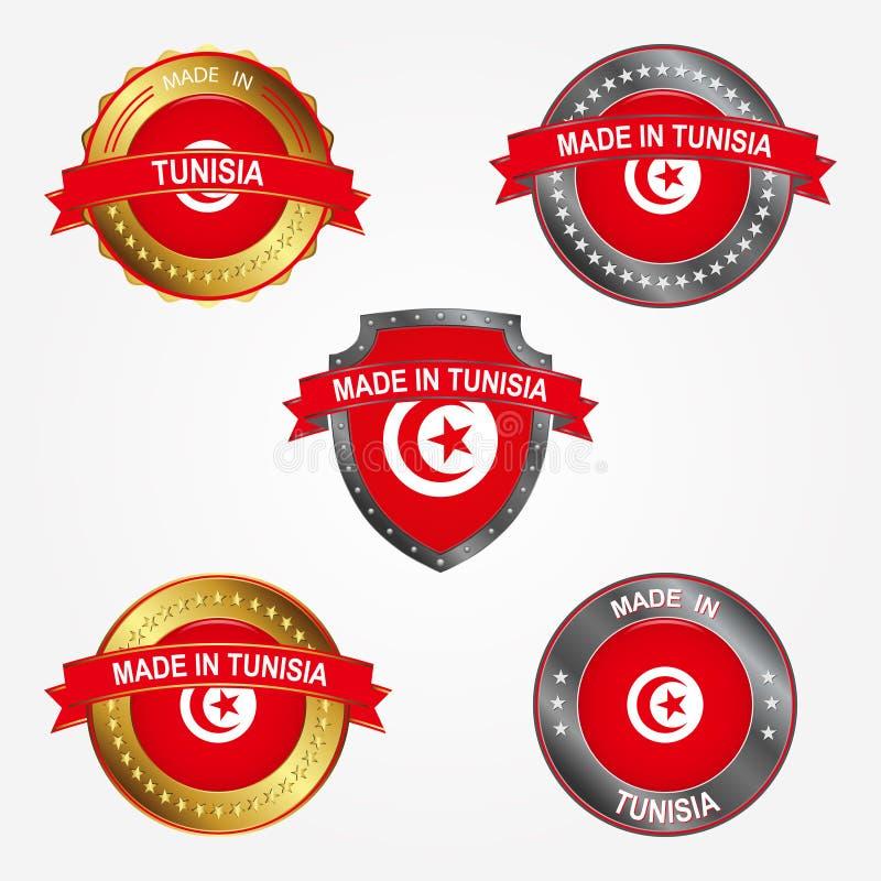 Designetikett av gjort i Tunisien också vektor för coreldrawillustration vektor illustrationer