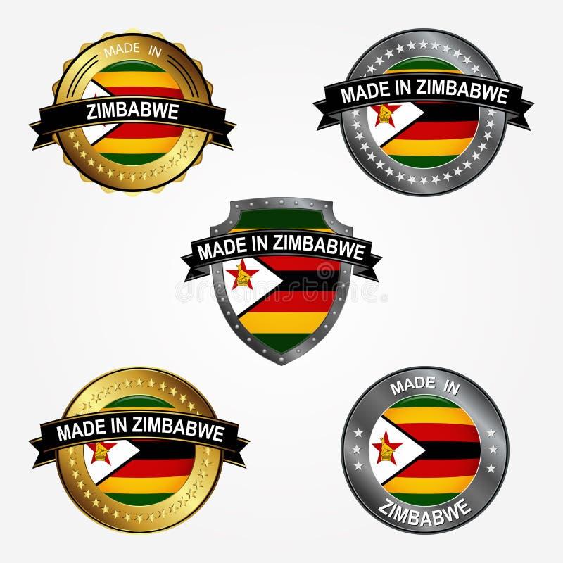 Designetikett av gjort i Zimbabwe också vektor för coreldrawillustration vektor illustrationer