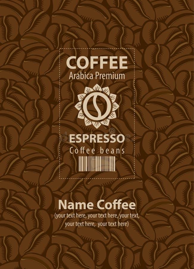 Designetiketter för kaffebönor stock illustrationer