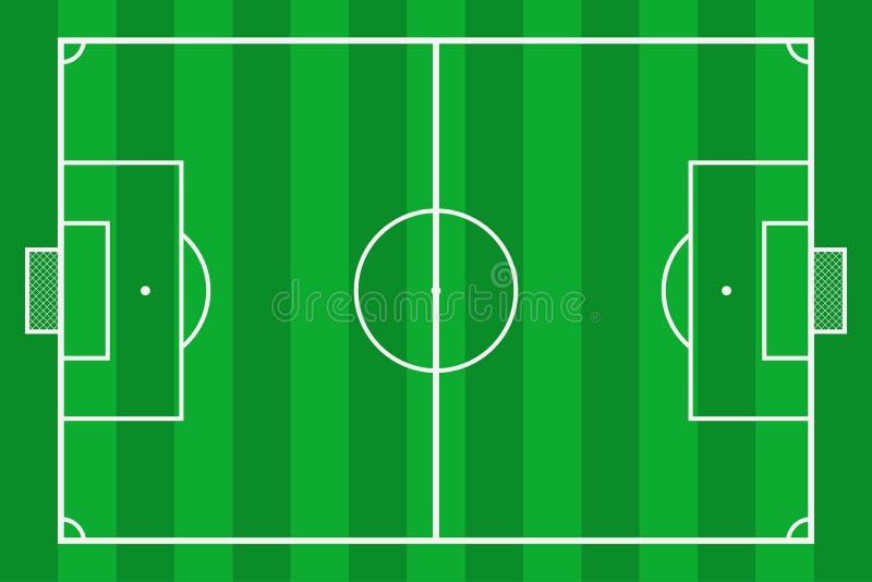 designfältfotboll dig Fotbolldomstol för grönt gräs Modellbakgrundsfält för sportstrategi och affisch vektor stock illustrationer
