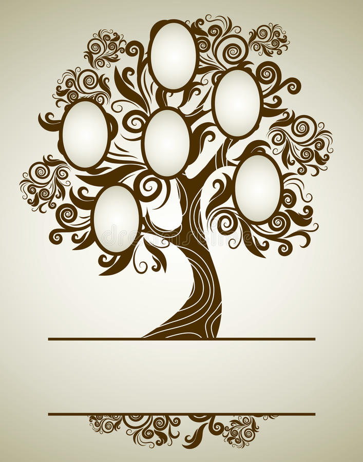 designfamiljen inramniner treevektorn royaltyfri bild