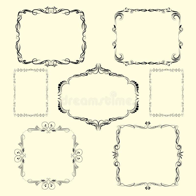Designgränser och hörn för vektor dekorativa stock illustrationer