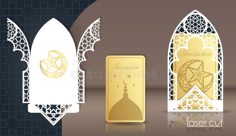 Designhälsningkort för den muslimska ferien Laser klippte den arabiska girihmodellen, ramen 3d Vävd geometri Korsa royaltyfri illustrationer