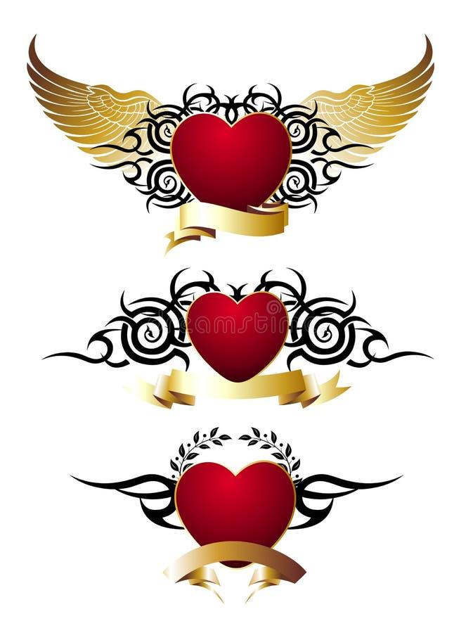 designhjärtor som älskar den set tatueringen för red royaltyfri illustrationer