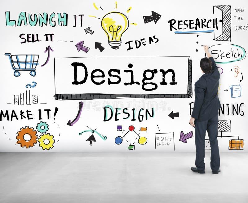 Designidéer skapar planläggningsvisionbegrepp royaltyfri bild