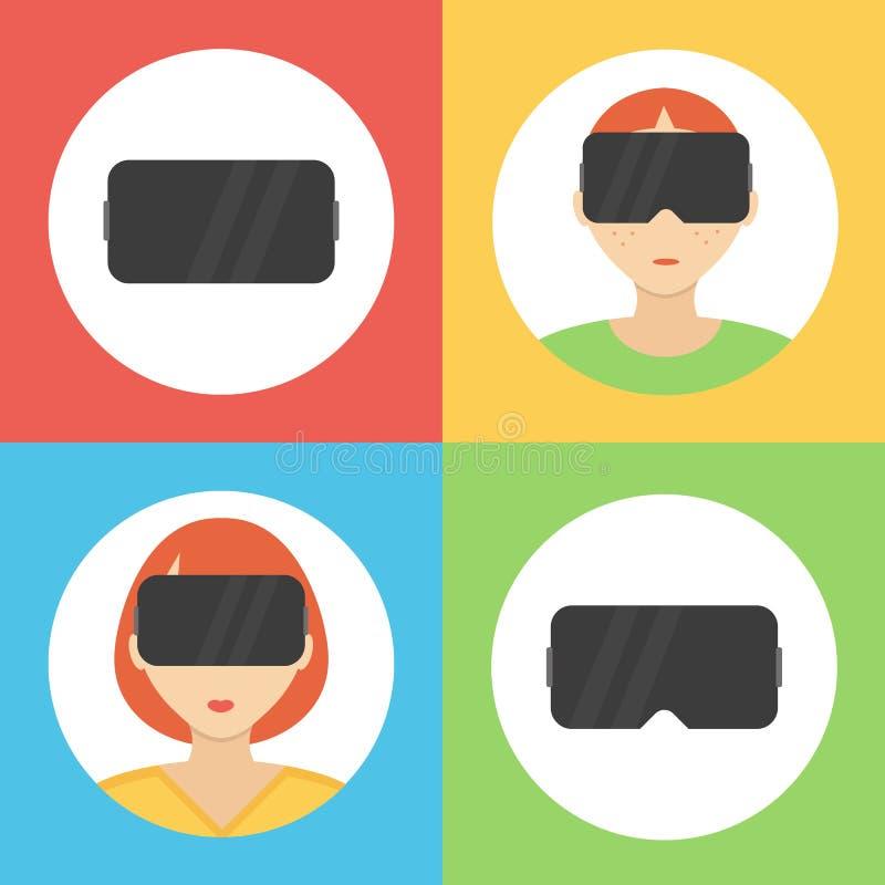 Designikonen der Gläser der virtuellen Realität flache eingestellt stock abbildung