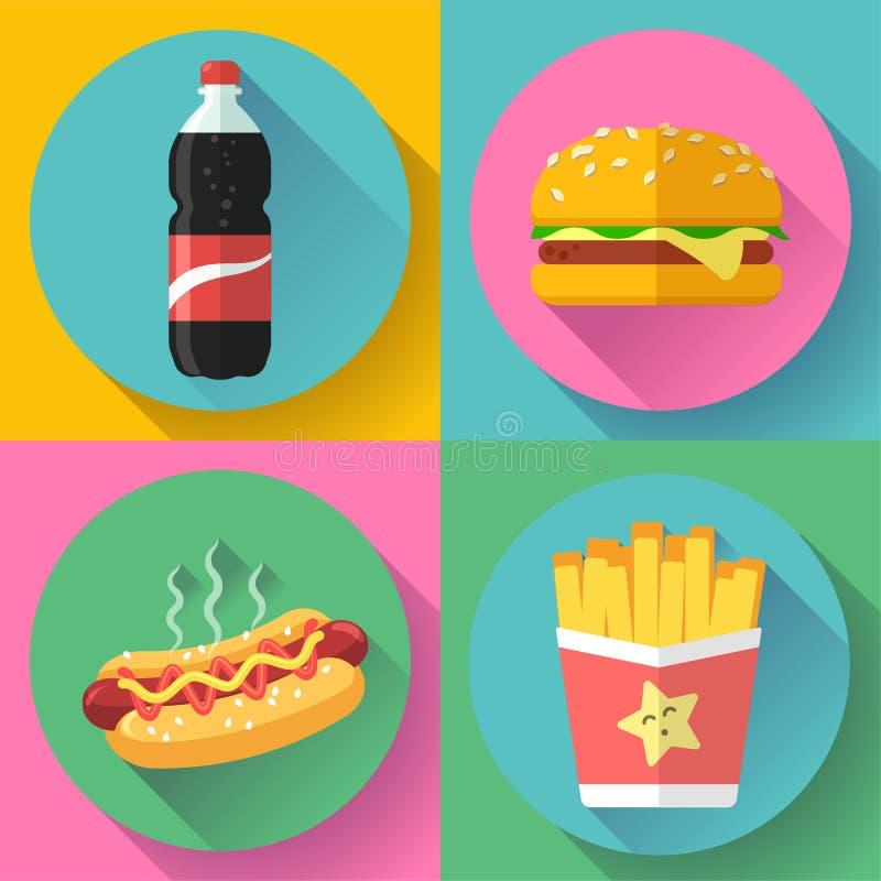 Designikonensatz des Schnellimbisses flacher Hamburger, Kolabaum, Hotdog und Pommes-Frites vektor abbildung