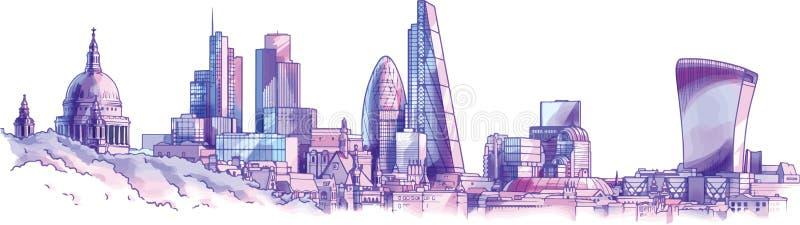 designillustrationlondon horisont dig royaltyfri illustrationer