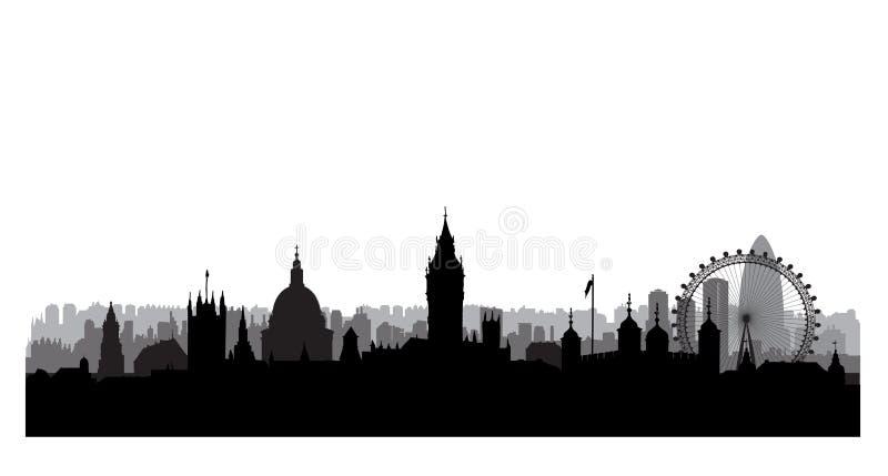 designillustrationlondon horisont dig London cityscape med berömda gränsmärken och byggande stock illustrationer