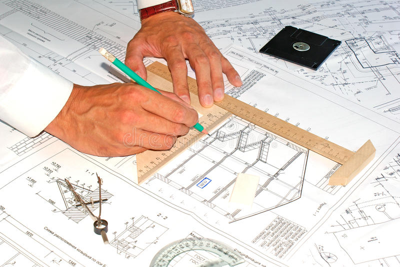 Designing. Initial preparatory stage in construction new building royalty free stock photography