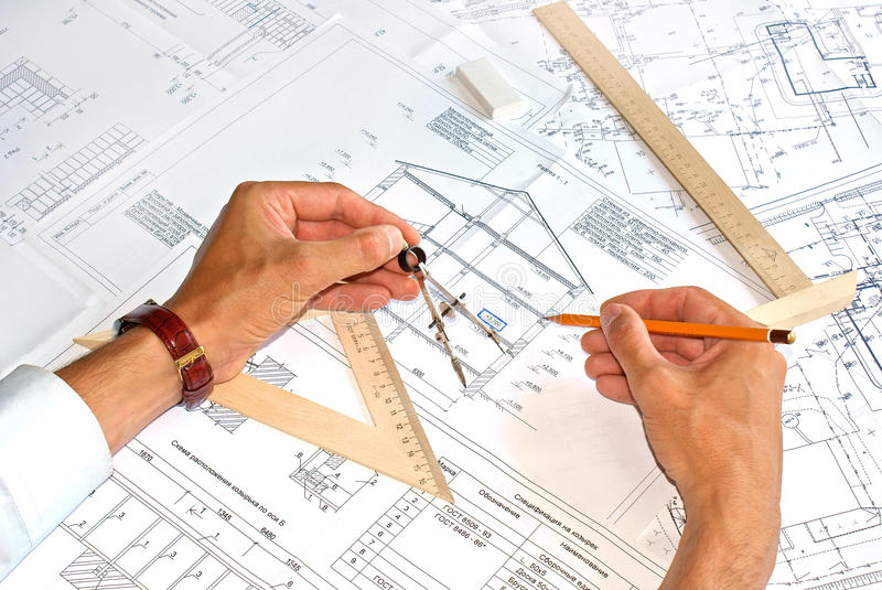 Designing. Initial preparatory stage in construction new building stock photography