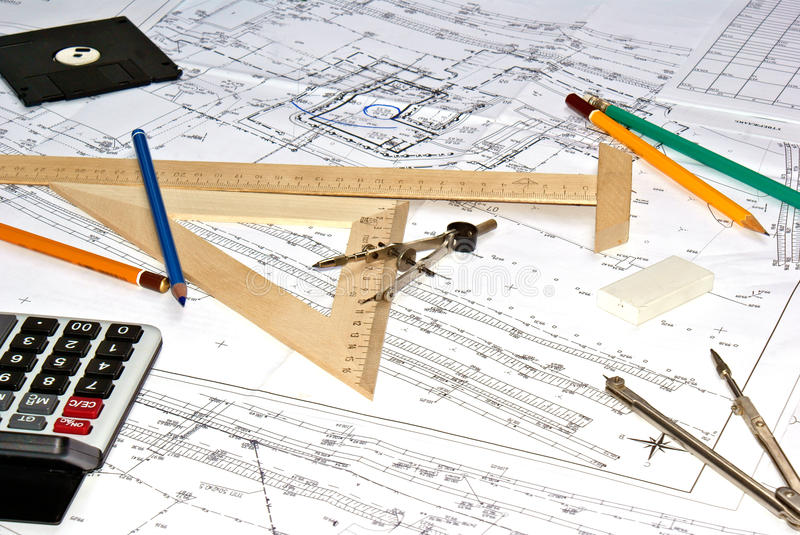 Designing. Initial preparatory stage in construction new building stock images