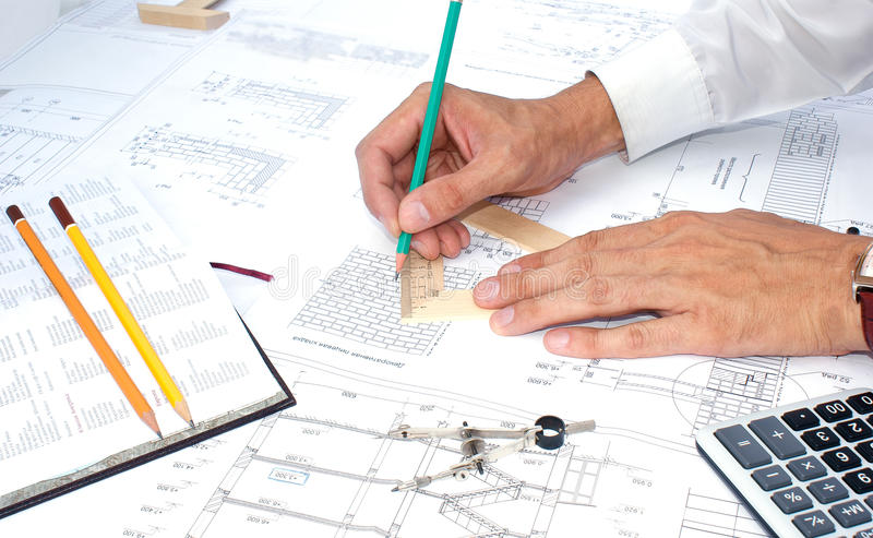 Designing. Projection -initial preparatory stage in construction new building royalty free stock photos