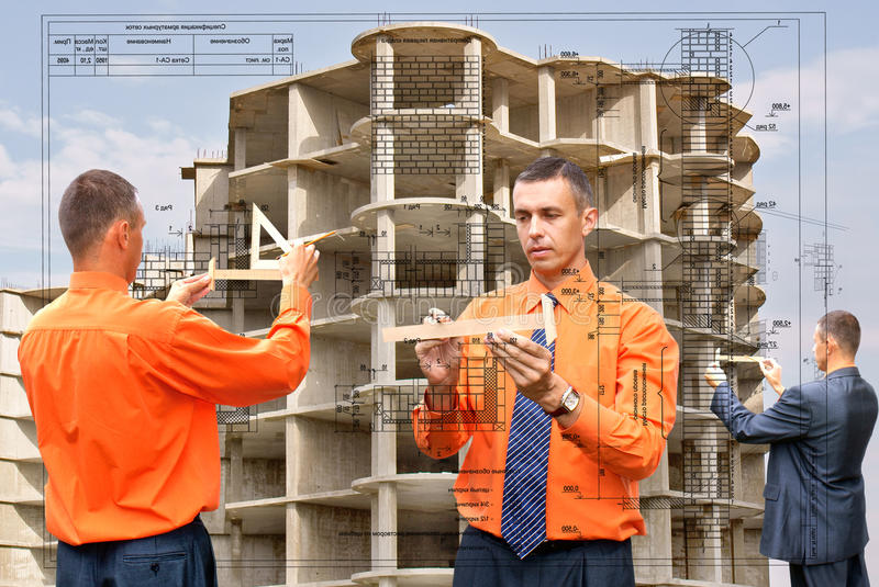 Designing. Projection -initial preparatory stage in construction new building stock photo