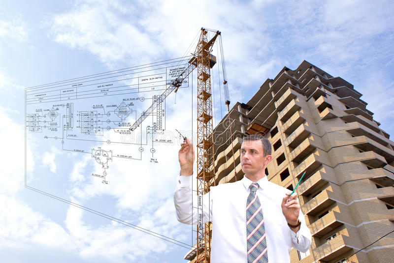 Designing. Projection -initial preparatory stage in construction new building royalty free stock images