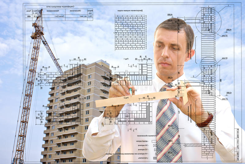 Designing. Projection -initial preparatory stage in construction new building stock image