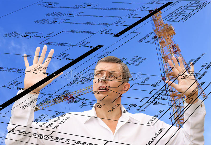 Designing. Projection -initial preparatory stage in construction new building stock photos