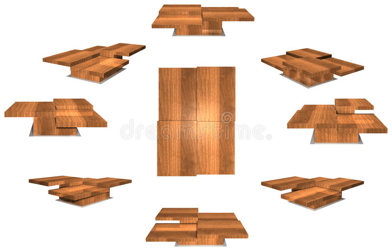 Coffee table. View from all sides of a coffee table. The three dimensional drawing for each side has a dimension of about 2000 * 800 pixels (when the image size royalty free stock photography