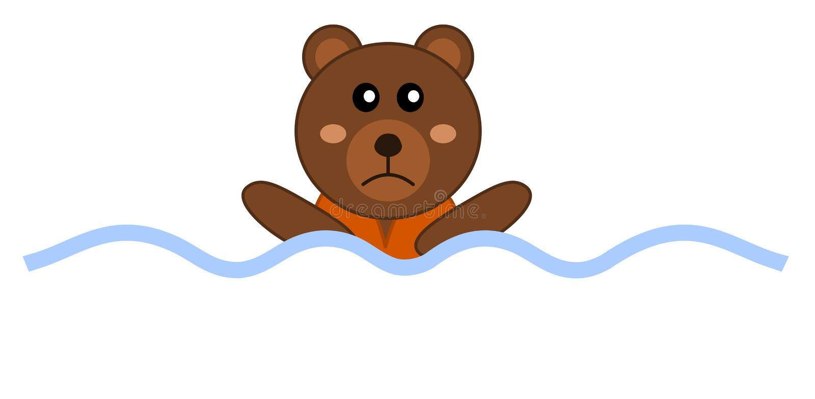 Designing drowning with a teddy bear vector illustration