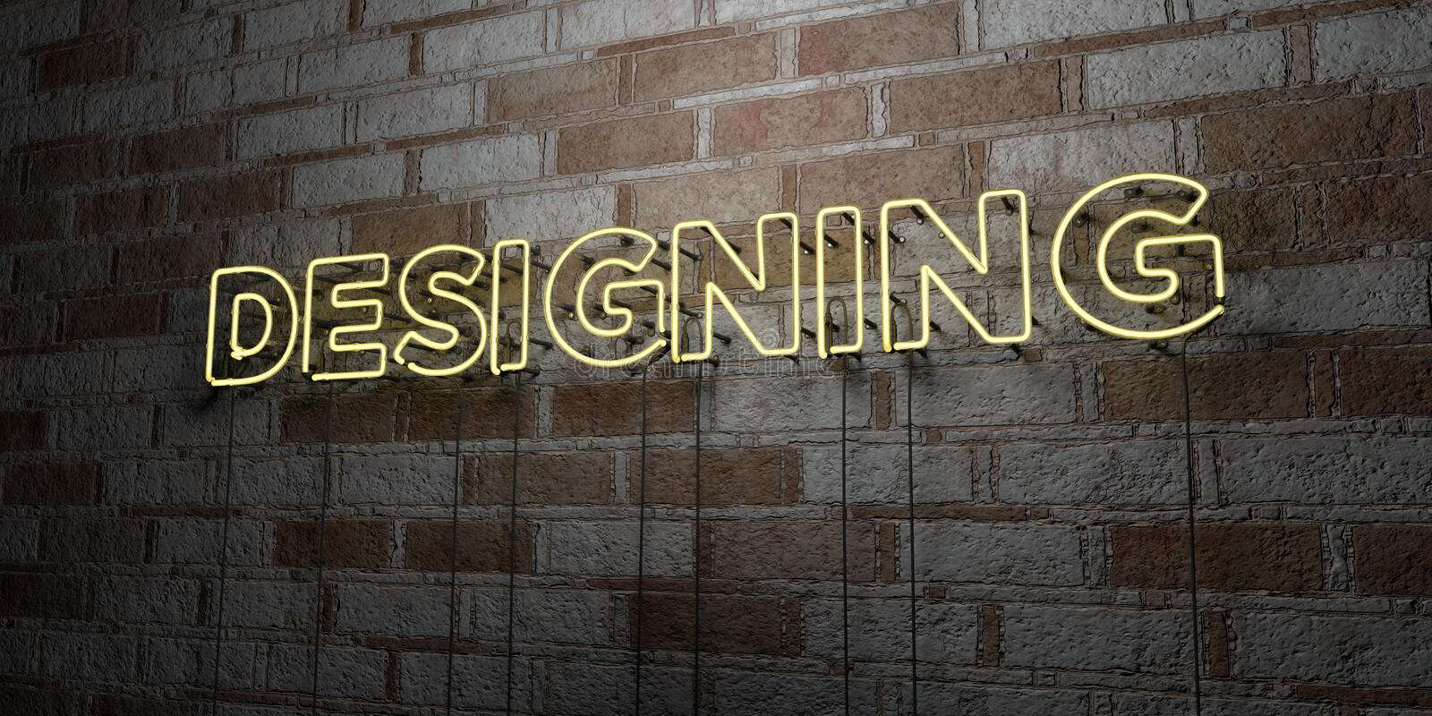 DESIGNING - Glowing Neon Sign on stonework wall - 3D rendered royalty free stock illustration. Can be used for online banner ads and direct mailers stock illustration