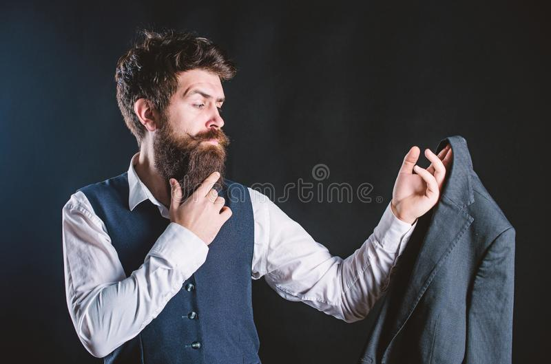 Designing made to measure suit. Custom made suit. Man bearded wear formal suit with shirt vest and jacket. Elegant royalty free stock photos