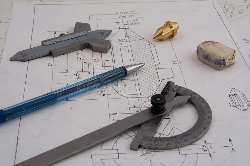 Designing mechanical parts stock images