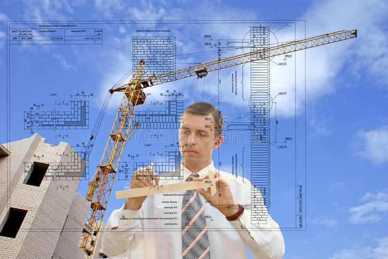 Designing technology in construction. Projection-initial preparatory stage in construction new building stock images