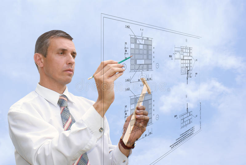 Designing technology in construction. Projection-initial preparatory stage in construction new building stock image