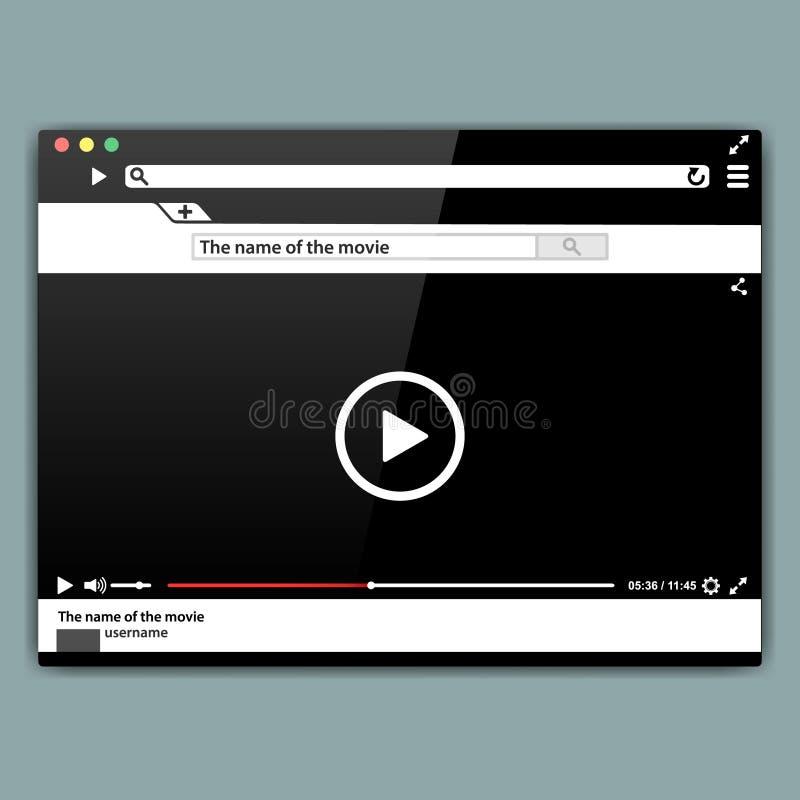 Designinternet-Browservideo-player-Schablone Moderner Videorahmen Video-Player-Schnittstelle mokup oder UI für Netz vektor abbildung